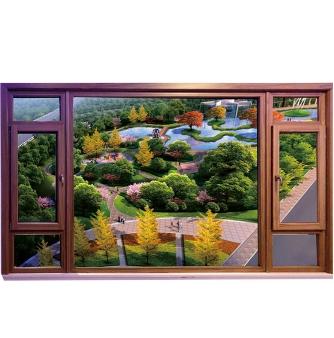 铝包木金钢一体窗